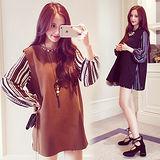 【韓國K.W.】(現貨在台)時尚設計開岔背心條紋洋裝