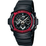 G-SHOCK 標準指針數位雙重顯示手錶-紅(AW-591-4A)