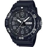 CASIO 潛水運動風旋轉錶圈男錶-黑(MRW-210H-1A)
