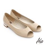 A.S.O 軟芯系列 鏡面牛皮貼鑽魚口鞋(卡其)
