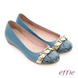 effie 軟芯系列 全真皮拼接金屬飾釦蛇紋平底鞋(藍)