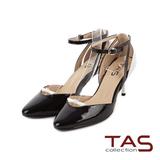 TAS 尖頭小扭結鏤空法式踝繫帶高跟鞋-名媛黑