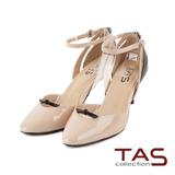 TAS 尖頭小扭結鏤空法式踝繫帶高跟鞋-輕感裸