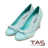 TAS 撞色拼接層次蝴蝶結楔型娃娃鞋-湖水藍