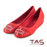 TAS 方型幾何圖騰水鑽內增高娃娃鞋-微甜紅