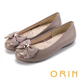 ORIN 輕柔甜美 真皮雙層織帶蝴蝶結娃娃鞋-可可