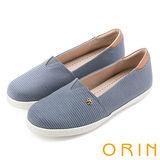 ORIN 潮流同步 個性條紋布料休閒平底鞋-灰色