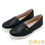 ORIN 潮流同步 特殊率性條紋布休閒平底鞋-黑色