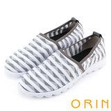 ORIN 引出度假氣氛 特殊布紋透氣平底便鞋-白色