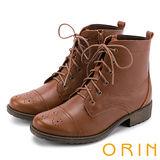 ORIN 中性街頭帥氣 蠟感壓紋牛皮綁帶短靴-棕色