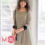 日本Portcros 預購-折縫裙擺蝴蝶結袖口洋裝(共五色/M-3L)