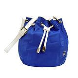 agnes b 皮革飾邊尼龍束口水桶包(小/藍)