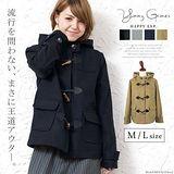 日本Portcros 現貨-牛角扣短版外套(黑色/L)