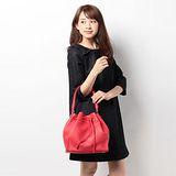 【agnes b.】荔枝紋皮革水桶包(大款/紅色)