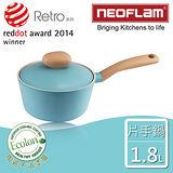 【韓國NEOFLAM】18cm陶瓷不沾片手鍋+陶瓷塗層鍋蓋(Retro系列)-薄荷