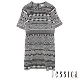 JESSICA RED-古典氣質幾何印花短袖洋裝