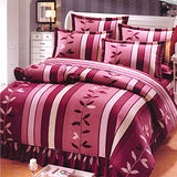 Carolan幸福國度-紅 加大五件式精梳棉兩用被床罩組