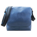COACH皮革率性磁扣上掀式書包/斜背包(藍)