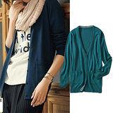 日本Portcros 現貨-紅外線發熱V領長版針織外套(藍綠色/LL)
