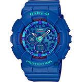 CASIO 卡西歐 Baby-G 豹紋雙顯錶-藍 BA-120LP-2ADR