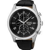 SEIKO精工 CS 紳士羅馬計時腕錶-黑/43mm 7T62-0LJ0K(SNAF71P1)