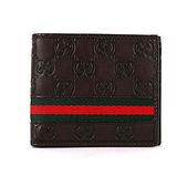 【GUCCI】牛皮 GUCCISSIMA壓紋 綠紅綠 短夾 (深咖啡色)