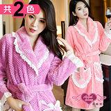 【天使霓裳】保暖睡袍 甜蜜心暖 柔軟珊瑚絨一件式綁帶連身睡衣(紫/深粉F)