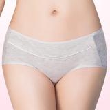 【嬪婷】學生內衣 環保有機棉M-LL低腰平口款內褲(文雅灰)