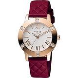VOGUE 時尚菱格紋羅馬腕錶-白x紅/34mm 2V1501-341RGD-RG