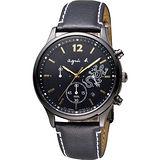 agnes b. 巴黎城市戀人三眼計時腕錶-黑x金時標/39mm V175-0DP0C(BU8014P1)