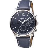 agnes b. 巴黎城市戀人三眼計時腕錶-藍/39mm V175-0DP0B(BU8012P1)