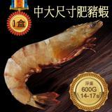 【築地一番鮮】剛剛好SIZE野生肥豬蝦1盒(14-17隻/淨重600g/盒)-任選