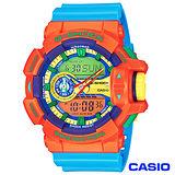 CASIO卡西歐 G-SHOCK街頭時尚多層次亮彩色系運動雙顯錶-橘x藍 GA-400-4A