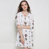 【KVOLL中大尺碼】波西米亞印花喇叭袖連衣裙(共二色)L~5XL