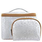 Calvin Klein LOGO PVC手提化妝包-大型/銀色