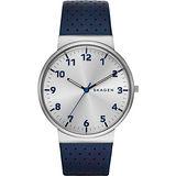 SKAGEN 都會時尚大三針石英腕錶-銀x藍/40mm SKW6162