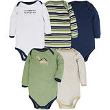 【HELLA 媽咪寶貝】美國 luvable friends 嬰幼兒長袖包屁衣5件組 綠色條紋恐龍衣 (38055)