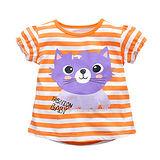上衣 女童 條紋貓 歐美經典兒童純棉短袖T恤(T104)
