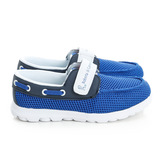 Roberta 諾貝達 極輕量透氣黏扣帶腳床型抗菌防臭減壓鞋墊休閒運動鞋 615021-寶藍