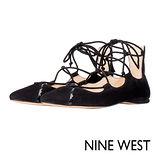 NINE WEST--尖頭綁帶平底鞋--沉穩黑