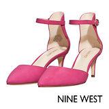 NINE WEST--百搭簡約踝帶尖頭高跟鞋--耀眼桃紅