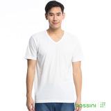 bossini男裝-素色純棉V領T恤12白(品特)