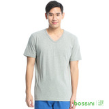 bossini男裝-素色純棉V領T恤12淺灰(品特)