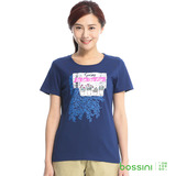 bossini女裝-印花短袖T恤25海軍藍(品特)