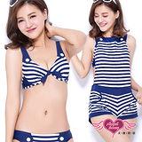 【天使霓裳】泳衣 夏日特輯 條紋三件式比基尼泳裝(白藍S~XL)