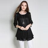 【KVOLL中大尺碼】黑色蕾絲圖紋七分袖顯瘦上衣