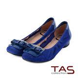 TAS 太妃Q系列 柔軟乳膠蝴蝶結水鑽復古方頭低跟娃娃鞋-寶藍