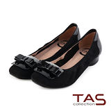 TAS 太妃Q系列 柔軟乳膠蝴蝶結水鑽復古方頭低跟娃娃鞋-氣質黑