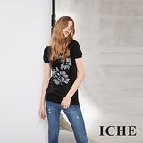 ICHE 衣哲 花卉印字拼接亮片針織造型黑上衣