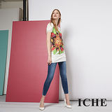 ICHE 衣哲 花卉印花拼接長版造型短袖針織上衣